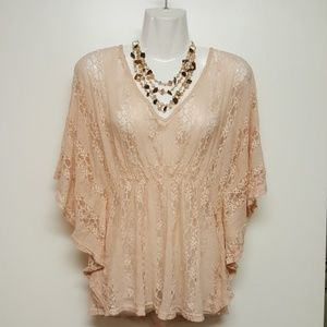 Peach Lace Boho-Conserv Blouse